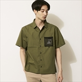 [ポーラ]COTTON LIP MESH POCKET OPEN COLLAR SHIRT