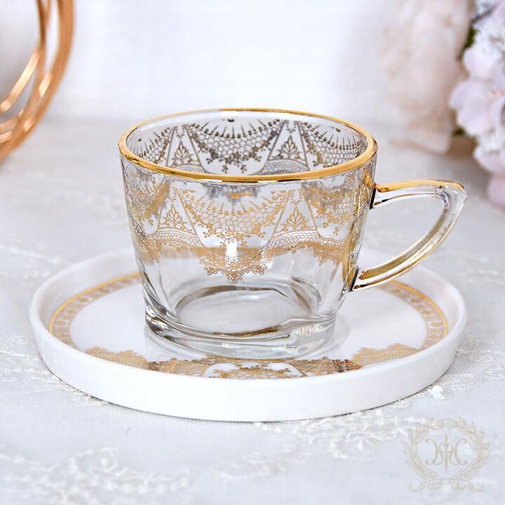 ゴールドレースガラスカップ&ソーサー
