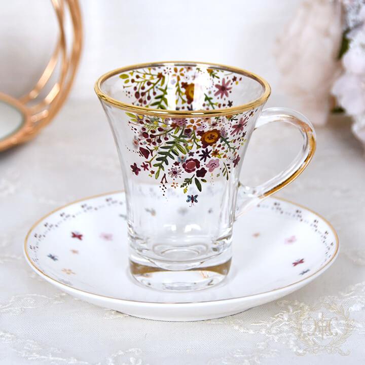 フラワーバタフライガラスカップ&ソーサー