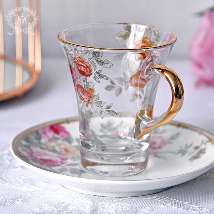 ローズガラスカップ&ソーサー