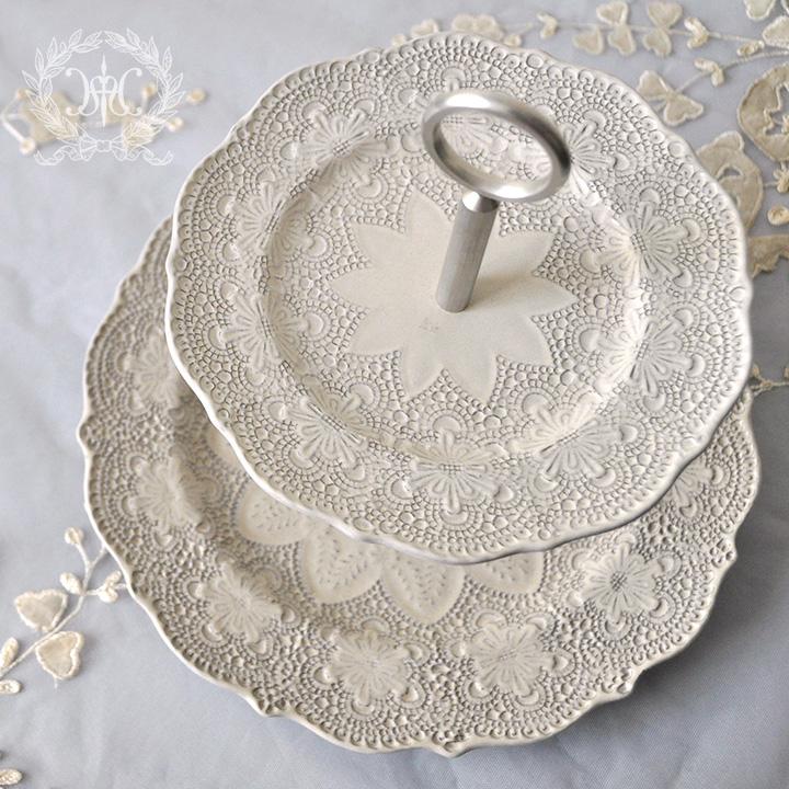 ラセラミカ 2段ケーキスタンド