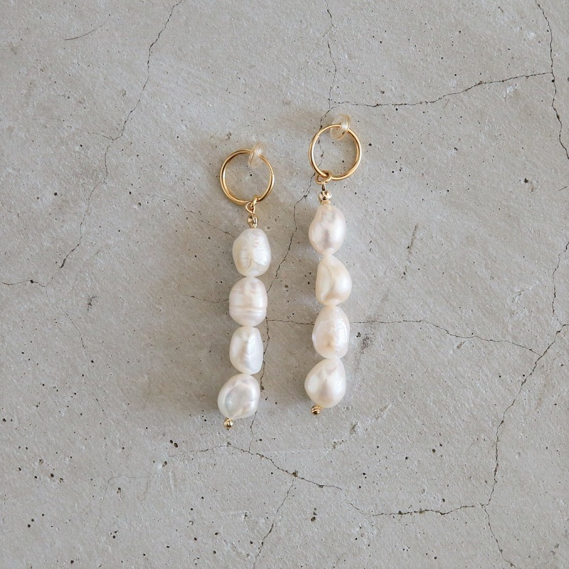 Baroque Pearl Earrings(One color, Pierced)