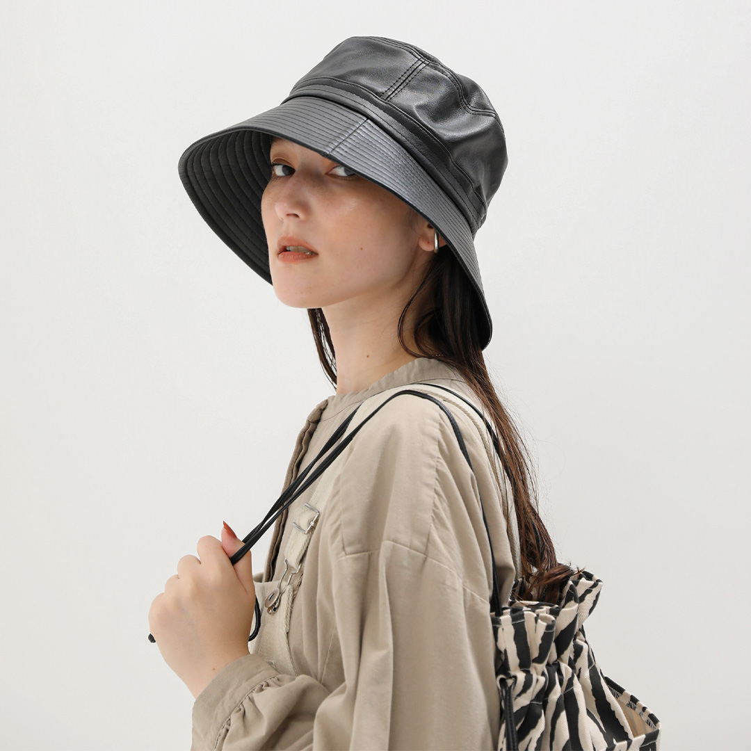 ECO LEATHER BUCKET HAT(ブラウン, FREE)