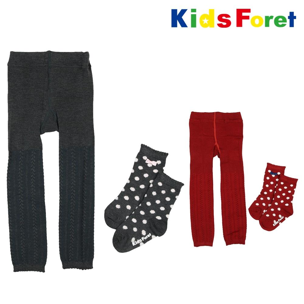 bca007dc8b721 Kids Foret (キッズフォーレ) マイルドタッチレギンス・靴下ドット柄セット 85cm~
