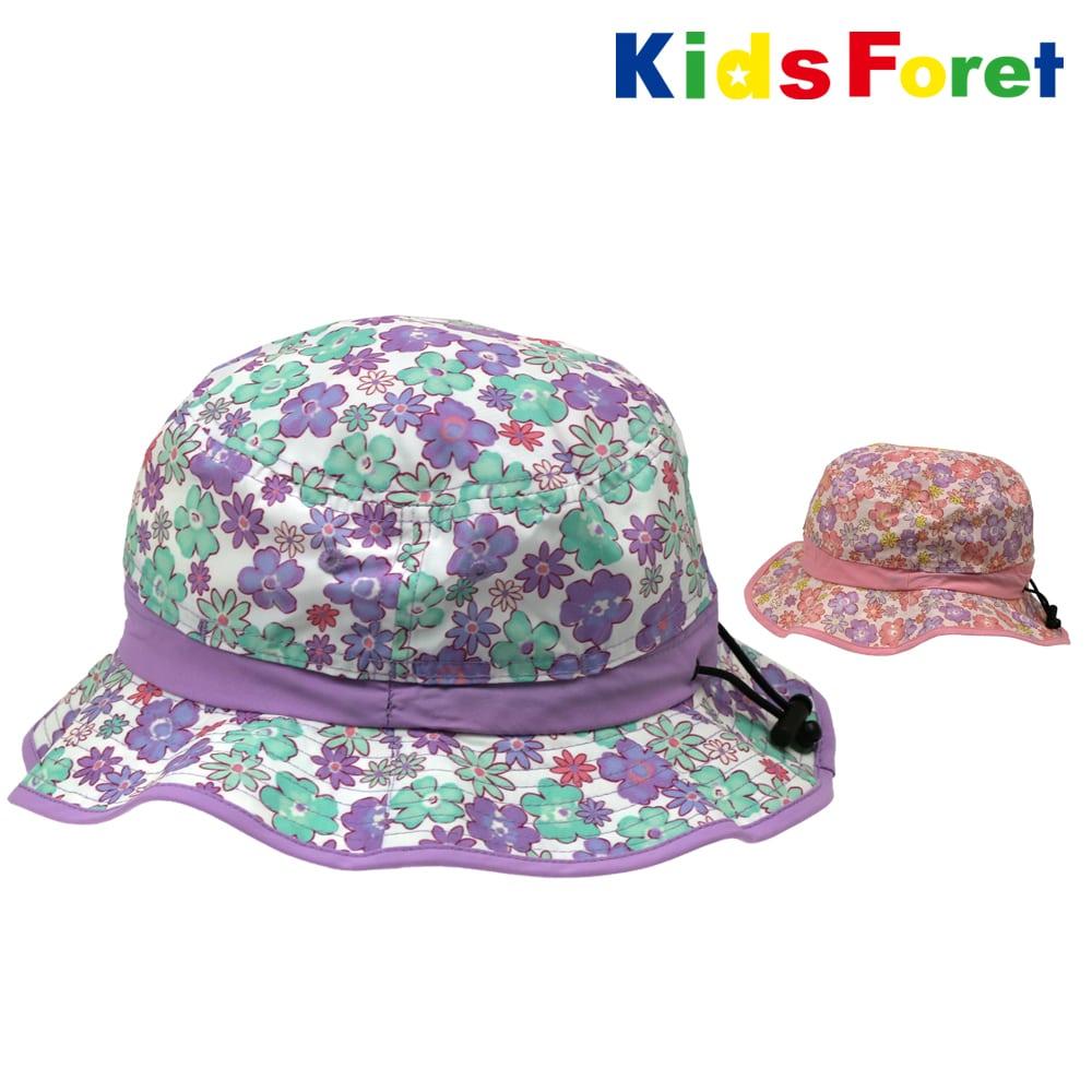 4ab57740a4890 Kids Foret (キッズフォーレ) 撥水UVカット加工花柄日よけ付ハット・帽子 ...