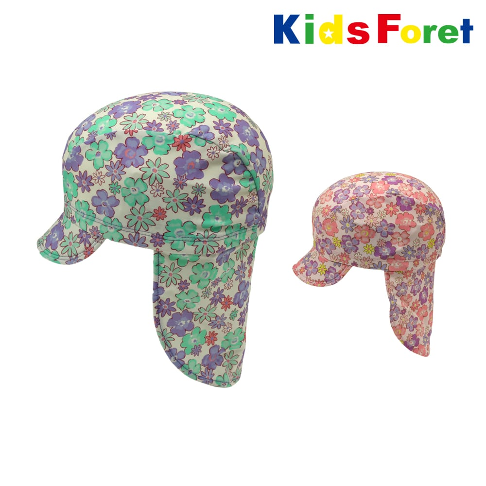 024811f126531 Kids Foret (キッズフォーレ) 花柄垂れ付きスイムキャップ・水着 49cm,