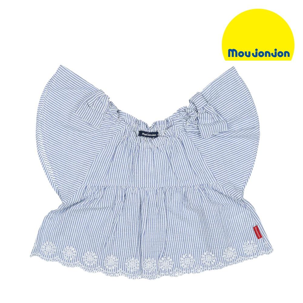 8ddaaf3bd9db5 moujonjon (ムージョンジョン) ストライプ裾刺繍チュニックブラウス 80cm~140cm M30530