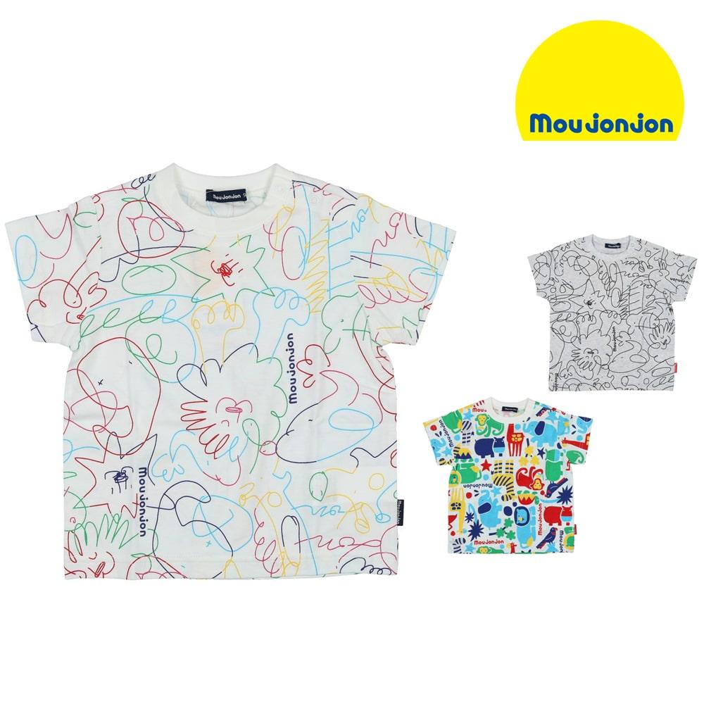 164615947ebfb moujonjon (ムージョンジョン) 日本製動物総柄Tシャツ 80cm~120cm