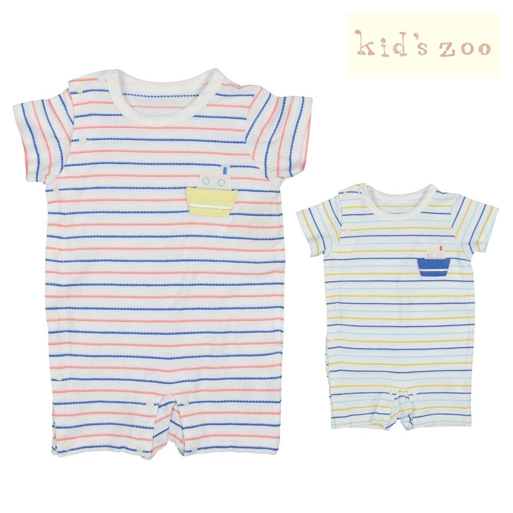19a633e0f8f83 kids zoo (キッズズー) 刺繍入りボーダーTオール・ロンパース 70cm,80cm W30705