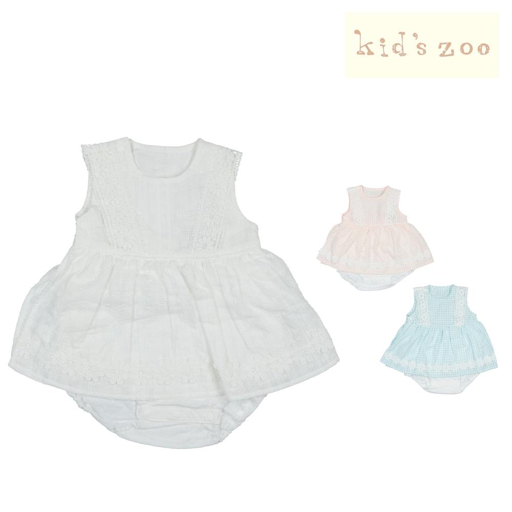 728d008aa4131 kids zoo (キッズズー) レース使いスカート付オール・ロンパース 70cm,80cm W40702