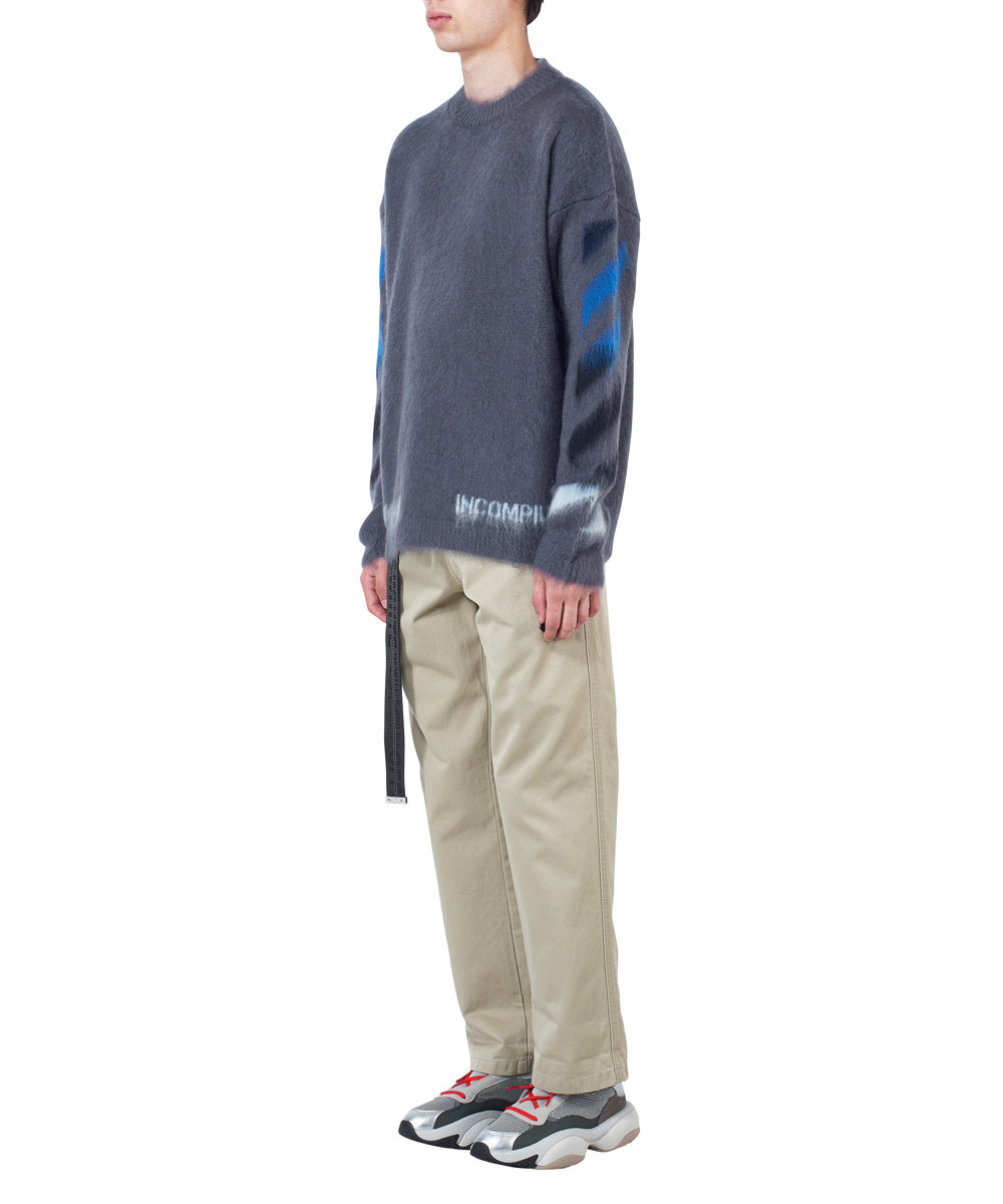 DIAG BRUSHED MOHAIR CREWNECK