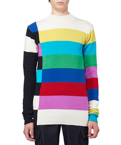 COLOR BARS MOCK NECK KNIT SWEATER