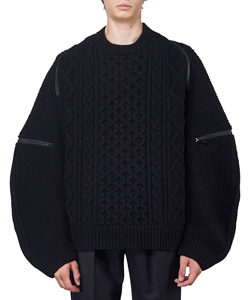 BALLON SLEEVE BACK ZIP CREW NECK SWEATER