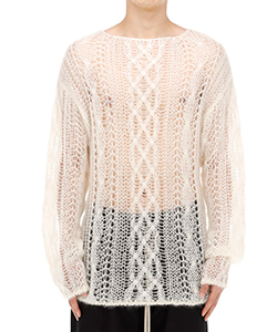 BOAT NECK ARAN SWEATER.