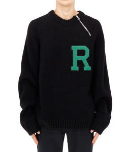 RAGLAN SWEATER WITH LETTER BADGE AND ZIPPER