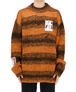 STRIPED ROUNDNECK SWEATER WITH POLAROIDS