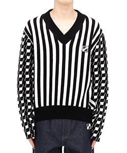 BLACK STRIPE GINGHAM CHECK V NECK PULLOVER