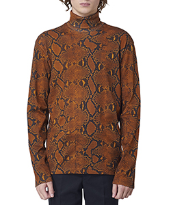 PYTHON PRINTED COTTON TURTLE NECK TOP