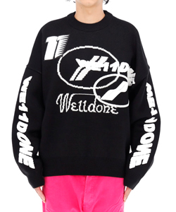 BLACK MULTI LOGO JACQUARD SWEATER
