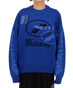 BLUE MULTI LOGO JACQUARD SWEATER