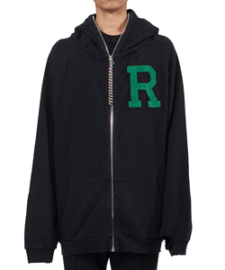OVERIZED ZIPPED HOODIE WITH BADGE AND PRINT