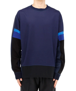 MIX JERSEY MESH PULLOVER