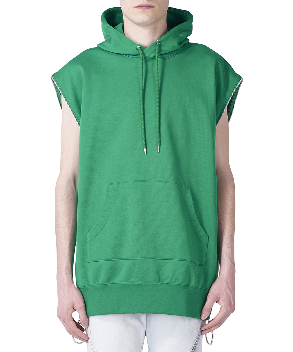 ZIPPED SLEEVELESS SWEAT HOODIE