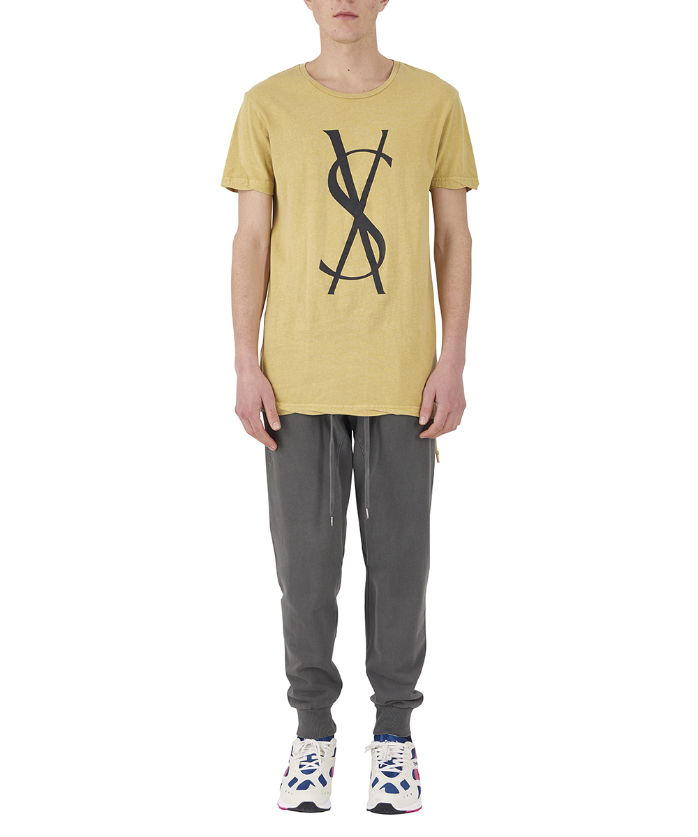FANCY CROSS DOLLAR SS TEE SOL YELLOW