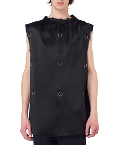 COUTURE SLEEVELESS TOP WITH PLEATS AND RINGS
