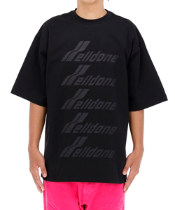BLACK COTTON WELLDONE FRONT LOGO T-SHIRT