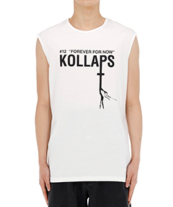 SLEEVELESS SLIM FIT T-SHIRT WITH KOLLAPS PRINT