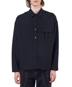PATCH-POCKET WOOL SHIRT