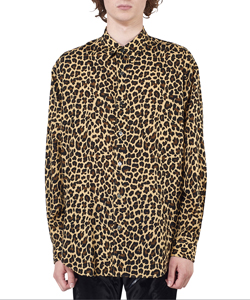 LEOPARD PRINTED RAYON REGULAR COLLAR SHIRT