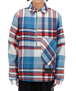 BLUE WD CHECK ANORAK WOOL SHIRT