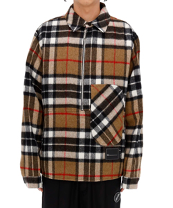 CAMEL WD CHECK ANORAK WOOL SHIRT