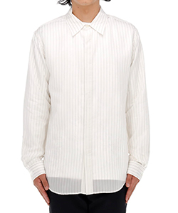 DOUBLE BUTTONHOLE STRIPED CUPRO SHIRT