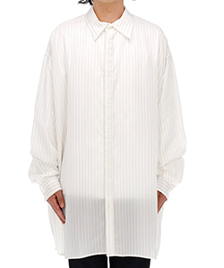 DOUBLE BUTTONHOLE OVERSIZED STRIPED CUPRO SHIRT