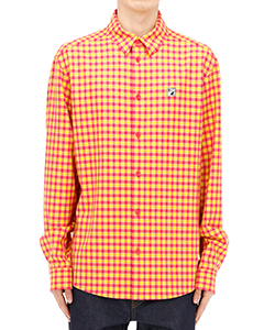 HOT PINK CHECKED LOGO PRINT SHIRT