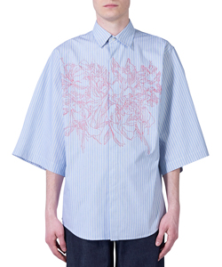 FLOWER EMBROIDERY HAPPI SLEEVE STRIPE SHIRT