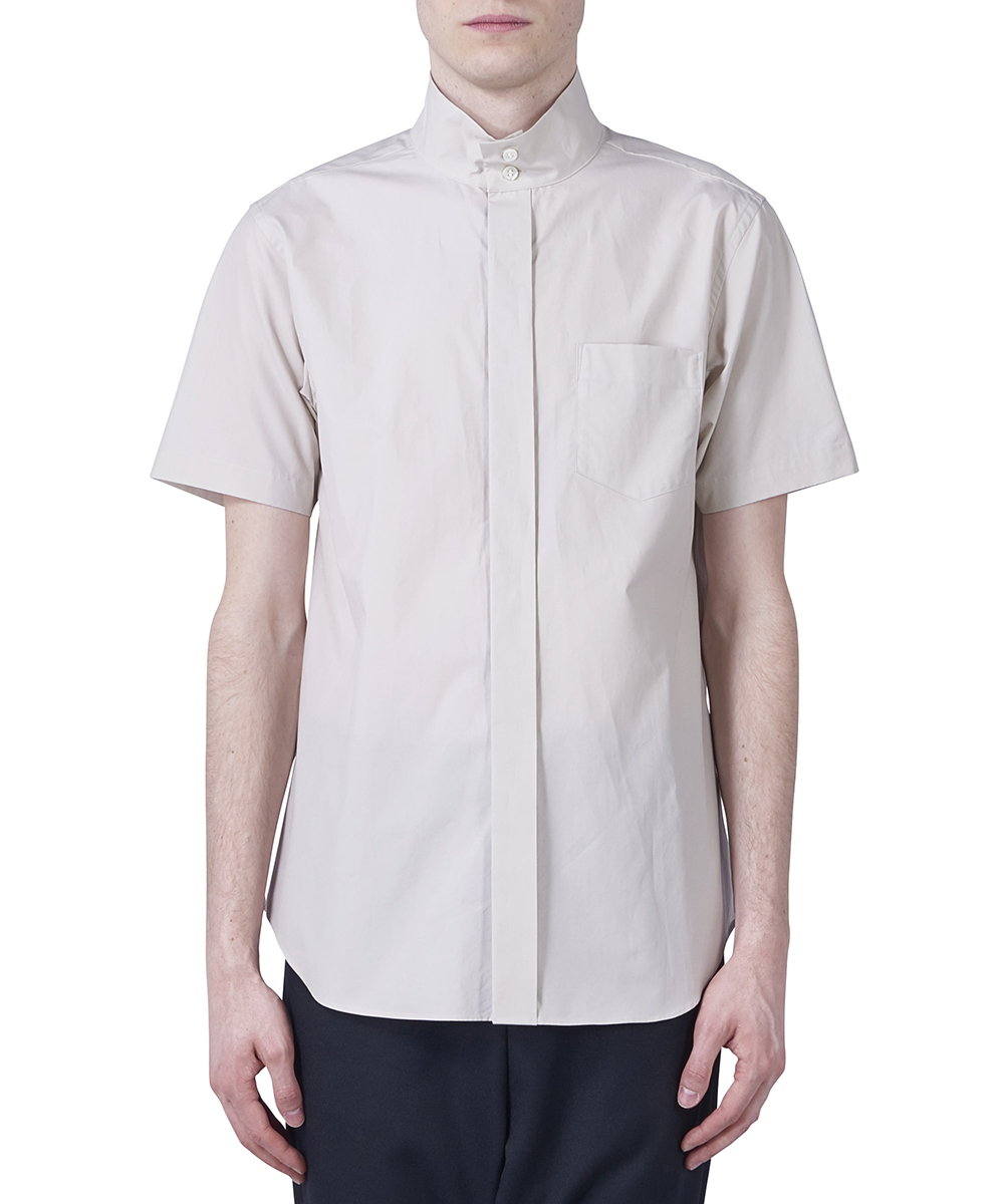 BANDED COLLAR SHIRT - SHORT SLEEVES