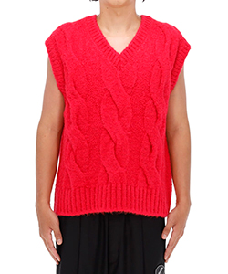 PINK CABLE MOHAIR KNIT VEST