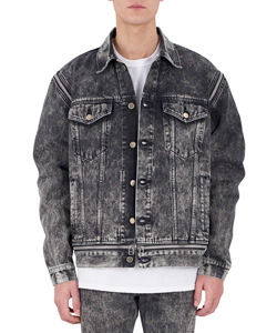 WASHED DENIM ZIPPED JEAN JACKET