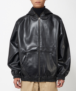 FULL LEATHER HOODIE