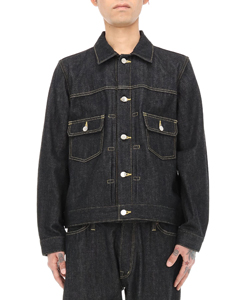 PLEATED DENIM BLOUSON