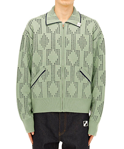 OLIVE DOT GEOMETRIC JACQUARD JACKET
