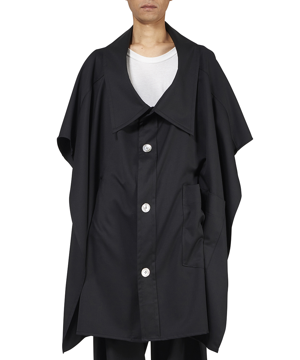 ZOOM WOOL GABARDINE COLLAR PONCHO