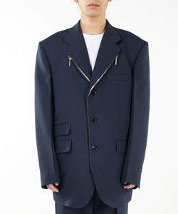 POLY ZIPPER DETAIL BLAZER