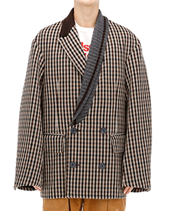 KNIT COLLER CHECK JACKET