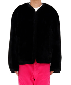 BLACK MENS FAKE FUR ROUND-NECK JACKET