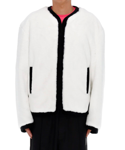 WHITE MENS FAKE FUR ROUND-NECK JACKET